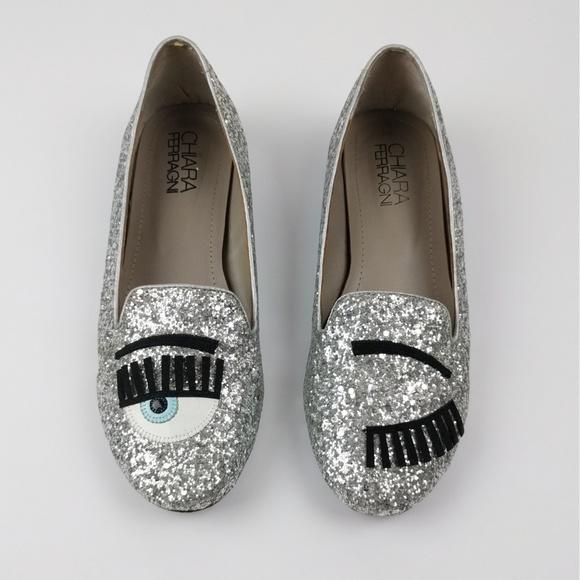 4a710029c Chiara Ferragni Shoes | Silver Glitter Flirting Flats 9 | Poshmark